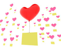 Heart shaped balloons with memos Stock Photo