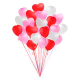 Bunch of transparent realistic heart shaped balloons of red, pink and white colors isolated on white background. Decoration for Bi Stock Photos