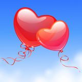 Heart Shaped Balloons in the sky. Stock Photo