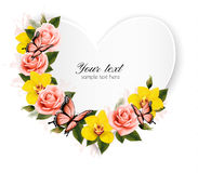 Heart shaped banner with roses and yellow orchids. Stock Photos