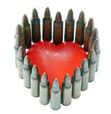 Isolated 5.56 Bullets with Heart Stock Photo