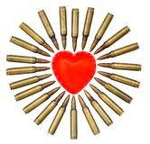 Isolated Heart Attack. A heart shaped bar of soap is surrounded by 5.56 cartridges pointing at it. Fits the concept of 'Heart Attack Stock Image