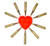 Isolated Heart Attack. A heart shaped bar of soap is surrounded by 5.56 cartridges pointing at it. Fits the concept of 'Heart Attack Royalty Free Stock Images