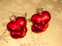 Heart shaped baubles Stock Photos