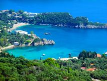 Heart-shaped bay, romantic, Paleokastrica beach on Corfu Kerkyra, Greece. Ionian sea. Bay with crystal clear azur water. stock photos