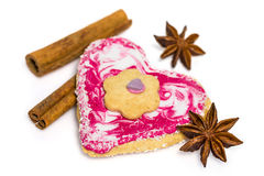 Heart shaped Biscuit decorated with cinnamon and star anise Royalty Free Stock Image