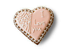 Heart shaped biscuit with inscription. Stock Images