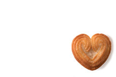 Heart shaped biscuit isolated on white background with copy space. Stock Photo