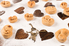 Heart shaped biscuits Stock Photo