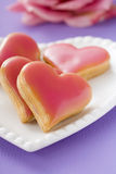Heart-shaped biscuits Stock Photos