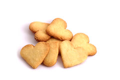 Heart-shaped biscuits. Sweet biscuits in shape of hearts (isolated Stock Photography