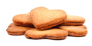 Heart shaped biscuits filled with marmelade Royalty Free Stock Photo