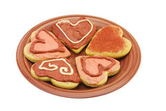 Heart shaped biscuits on plate Royalty Free Stock Photography