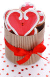 Heart-shaped biscuits for valentines day Stock Image