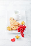 Heart-shaped biscuits wiith sugar and cinnamon. Rfor Valentine`s Day Royalty Free Stock Images
