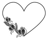 Heart-shaped black and white frame with floral silhouettes. Copy space. Raster clip art Royalty Free Stock Images