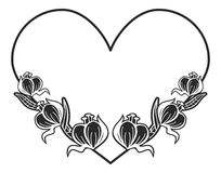 Heart-shaped black and white frame with floral silhouettes. Royalty Free Stock Photos