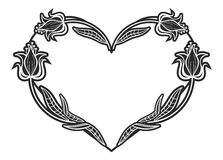 Heart-shaped black and white frame with floral silhouettes. Copy space. Raster clip art Royalty Free Stock Photo