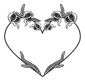 Heart-shaped black and white frame with floral silhouettes. Copy space. Raster clip art Stock Images