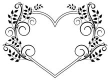 Heart-shaped black and white frame with floral silhouettes. Rast Royalty Free Stock Photo