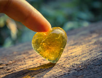 Heart shaped blue crystal. Royalty Free Stock Photography