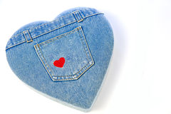 Heart shaped blue jeans. Stock Images