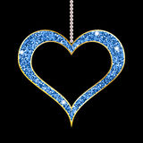 Heart shaped blue pendant. Pearl necklace with heart shaped golden pendant on black background. Vector illustration Stock Photos