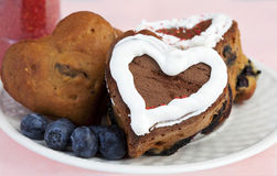 Heart Shaped Blueberry Muffins Stock Photos