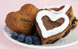 Heart Shaped Blueberry Muffins Stock Image