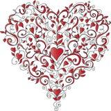 Heart-shaped Blumenverzierung, vektorabbildung Stockfotos