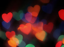 Heart shaped blurred lights Royalty Free Stock Photos