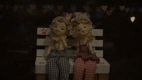 Heart Shaped Bokeh Around Puppets stock footage
