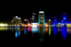 Heart shaped bokeh of city lights. In the night Stock Photography