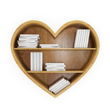 Heart shaped book shelf with white books, heart of knowledge, isolated on white. Educational concept Stock Photos
