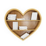 Heart shaped book shelf with white books, heart of knowledge, isolated on white. Educational concept Royalty Free Stock Image