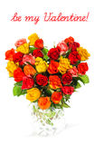 Heart shaped bouquet of colorful assorted roses Royalty Free Stock Photography