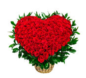 Heart shaped bouquet of red roses Stock Images