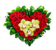 Heart shaped bouquet of red roses and orchids Stock Images