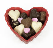 Heart Shaped Bowl with Chocolates Stock Images