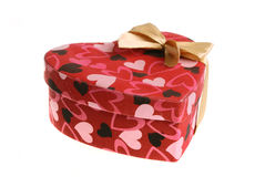 Heart shaped box with bow. (isolated on white Stock Images