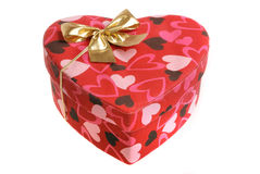 Heart shaped box with bow. (isolated on white Royalty Free Stock Photo