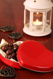 Heart shaped box with chocolate Royalty Free Stock Images