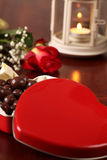 Heart shaped box with chocolate Stock Photography