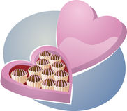 Heart-shaped box of chocolates Stock Image
