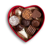 Heart shaped box  with chocolates, isolated, clipping path. Stock Photo