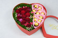 Heart shaped box of Flowers Royalty Free Stock Photo