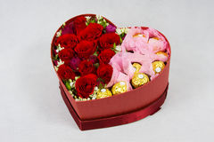 Heart shaped box of Flowers Royalty Free Stock Photography