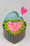 Heart shaped box of Flowers Stock Images