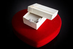 Heart-shaped box , Gift box , engagement ring Royalty Free Stock Photo