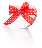 Heart Shaped Box Gift tied with ribbon with a bow Isolated Stock Photo